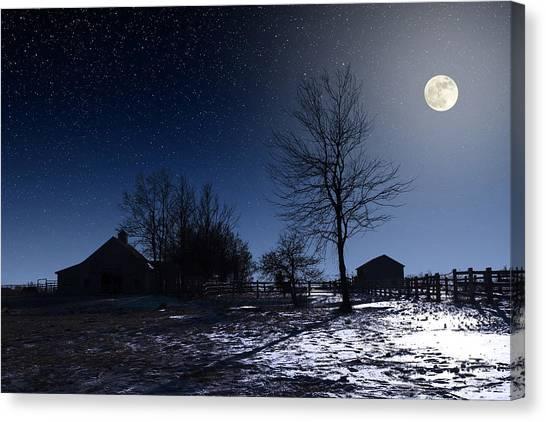 Full Moon And Farm Canvas Print