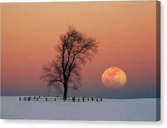 Full Moon Rising Near Graveyard Canvas Print