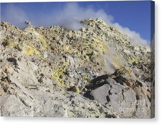 Mount Etna Canvas Print - Fumaroles With Sulphur Deposits. Flank by Richard Roscoe
