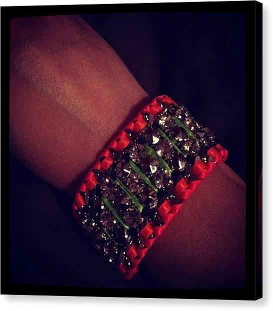 Jewelry Canvas Print - Fun #neon & #rhinestone Bracelet by Bryce Gruber