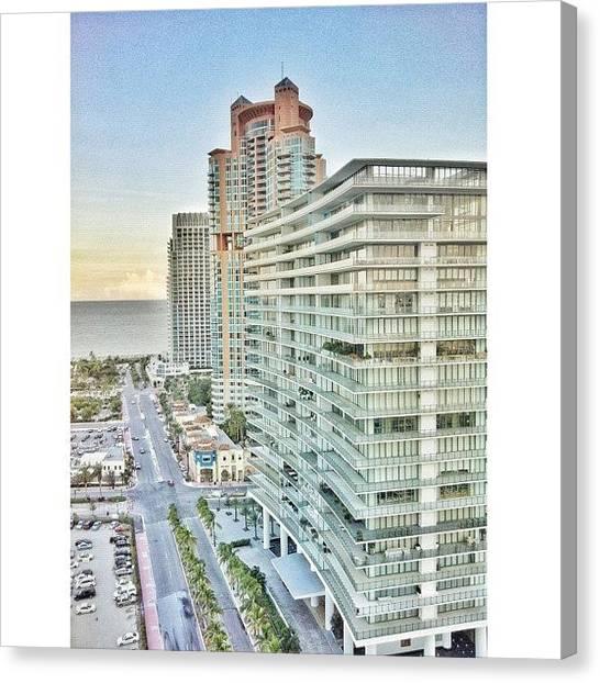 Miami Skyline Canvas Print - #funday #murano #sobe #miamibeach by Maria Lankina