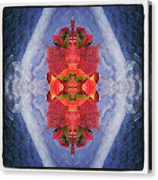 Symmetrical Canvas Print - #funky #fall #leaves #foliage #mirror by Karen Maziarz