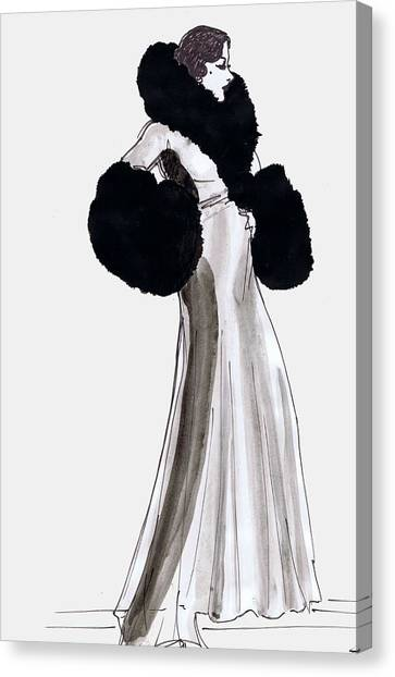 Gloria Swanson Canvas Print - Fur Coat by Mel Thompson