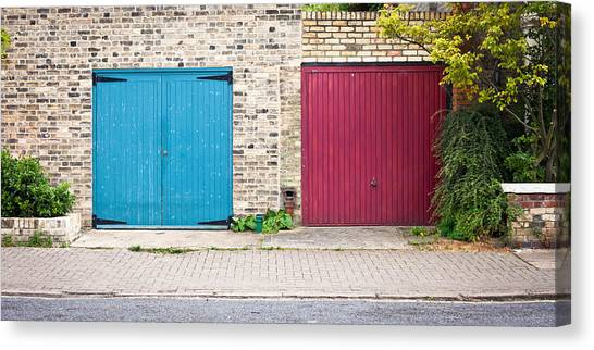 Brick Sidewalks Canvas Print - Garage Doors by Tom Gowanlock
