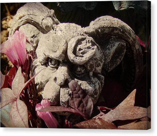 Garden Gargoyle Canvas Print by Brenda Conrad