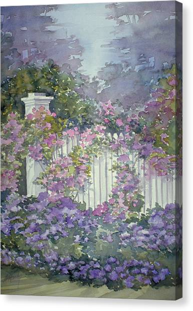 Garden Gate Roses Canvas Print