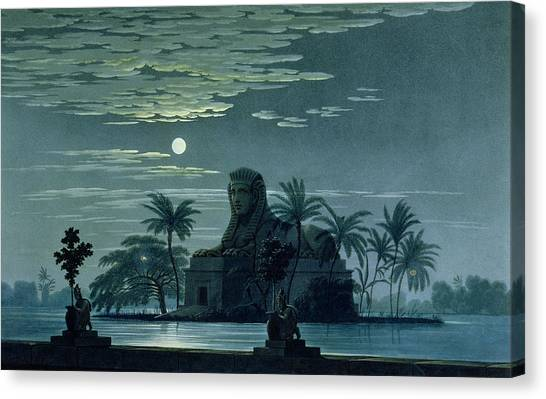The Nile Canvas Print - Garden Scene With The Sphinx In Moonlight by KF Schinkel