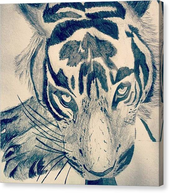 Teeth Canvas Print - #gcse #art #drawing #tiger #sketch by Hayden Walsh