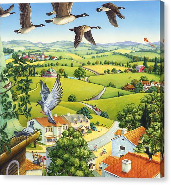 Geese Above The Town Canvas Print