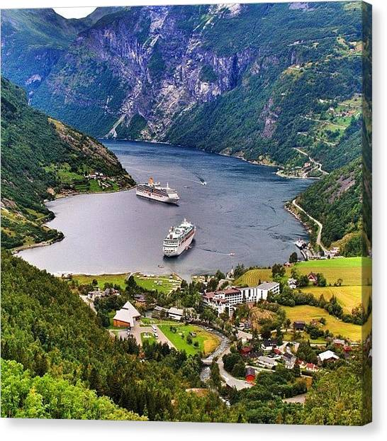 Travel Canvas Print - Geiranger Fjord by Luisa Azzolini