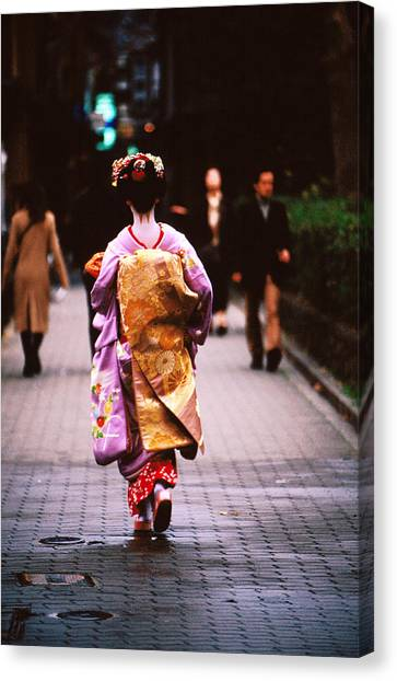 Geisha In Kimono Walking Away, Pontocho Districts, Kyoto, Japan Canvas Print by Lonely Planet