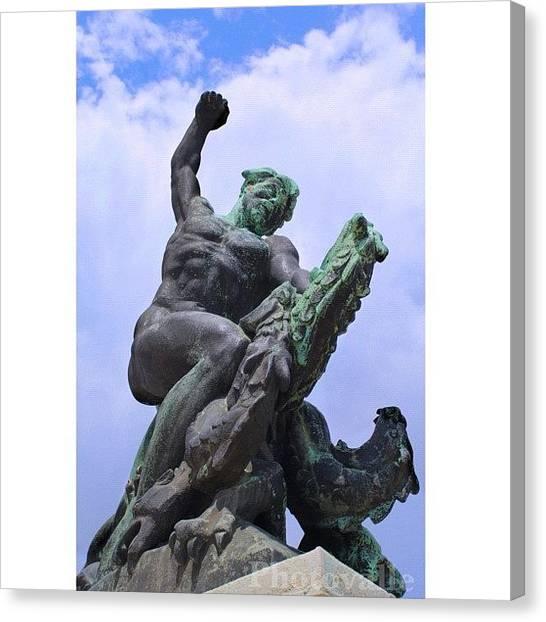 Roman Art Canvas Print - #gellerthegy #budapest #hungary #statue by Byron Ovalle