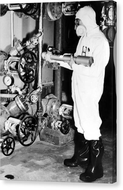 Nuclear Plants Canvas Print - General Electric Worker With A Portable by Everett