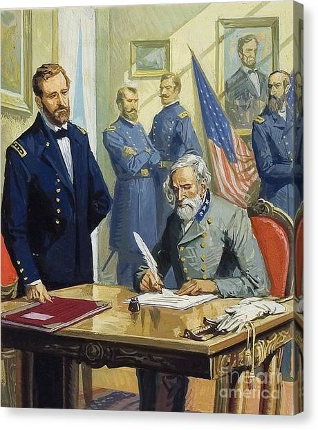 Confederate Army Canvas Print - General Ulysses Grant Accepting The Surrender Of General Lee At Appomattox  by Severino Baraldi