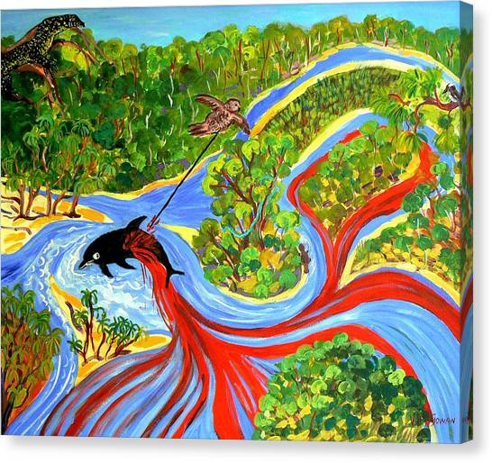 Canvas Print featuring the painting Genesis Of Pimpama Island Gold Coast Queensland by Virginia McGowan