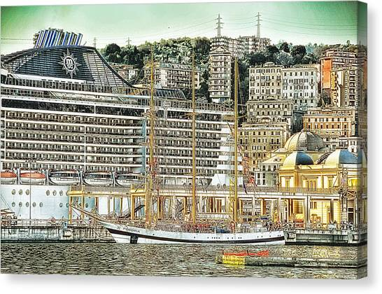 Genova Cruising And Sailing Ships And Buildings Landscape Canvas Print by Enrico Pelos