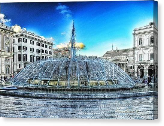 Genova De Ferrari Square Fountain And Buildings Canvas Print