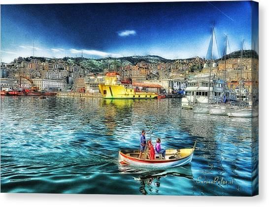 Genova Port Ships And Boats Canvas Print by Enrico Pelos