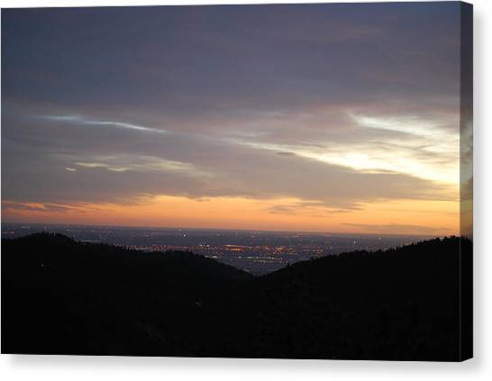 Gentle Sunrise Above Boulder Photo Canvas Print