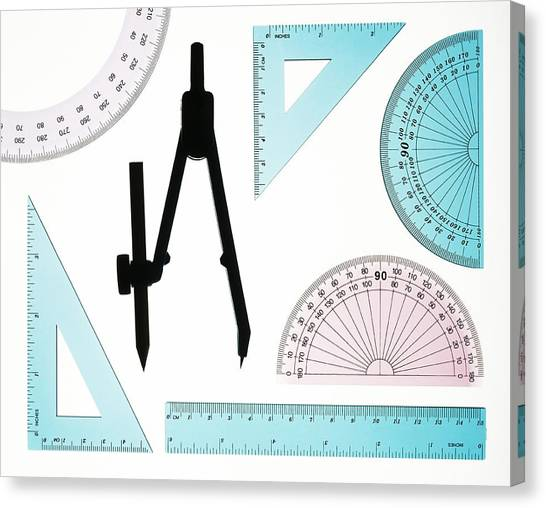 Protractors Canvas Print - Geometry Set by Lawrence Lawry