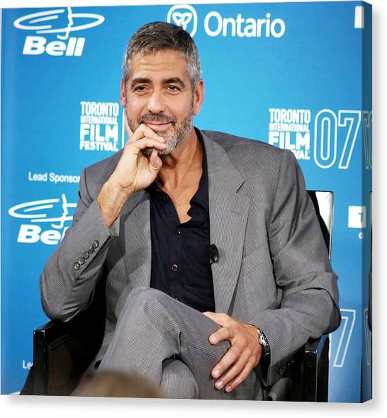 Toronto International Film Festival Tiff Canvas Print - George Clooney At The Press Conference by Everett