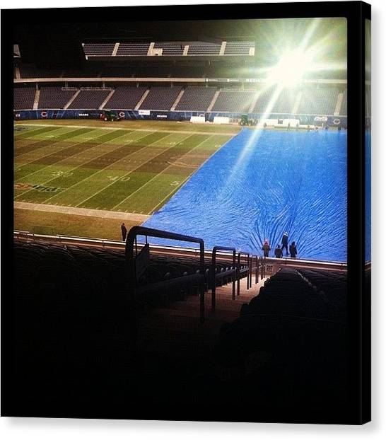 Football Teams Canvas Print - Getting The Field Covered For Coming by Jackie Ayala