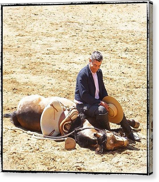 Rodeos Canvas Print - Getting Your Horse To Play Dead #horse by Polly Rhodes