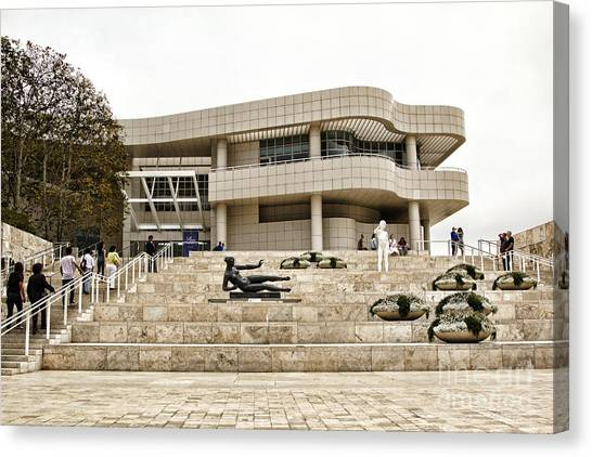 J Paul Getty Canvas Print - Getty Entrance by Chuck Kuhn