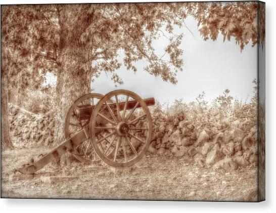 Army Of The Potomac Canvas Print - Gettysburg Battlefield Cannon Seminary Ridge Sepia by Randy Steele
