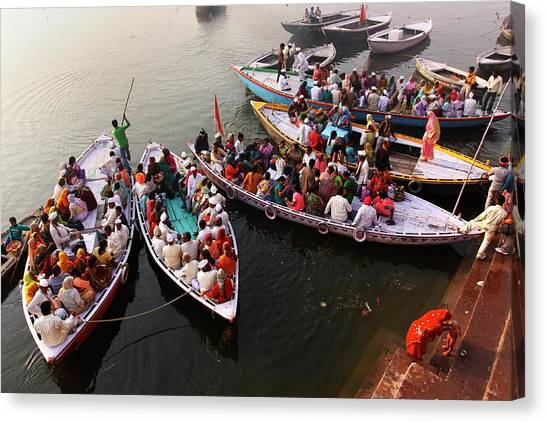 Ganges Canvas Print - Ghats Of Varanasi, India by Soumen Nath Photography