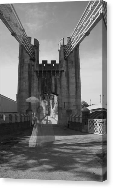 Ghost Bridge Black And White Canvas Print