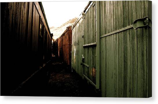Ghost Train Yard Canvas Print by Travis Burns
