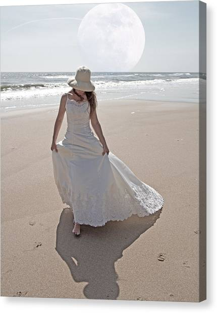 Wedding Gown Canvas Print - Gibbous Moon Gown by Betsy Knapp