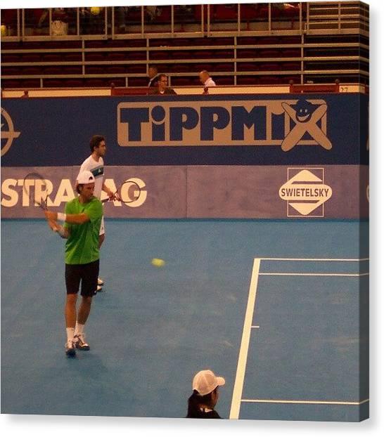 Tennis Canvas Print - Gilles Simon és Carlos Moya by Tibor Kiraly