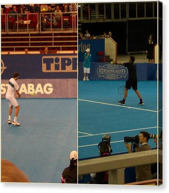 Tennis Canvas Print - Gilles Simon és Janko Tipsarevic by Tibor Kiraly