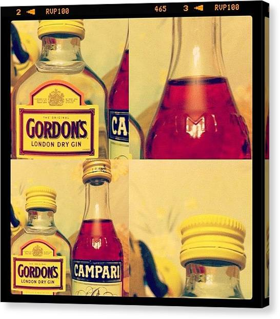 Gin Canvas Print - #gin #campari #bottle #label by Marianna Garmash
