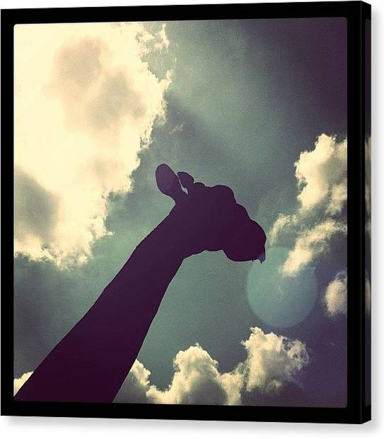 Giraffes Canvas Print - #giraffe #cloud #silhouette by Dicky Sutanto