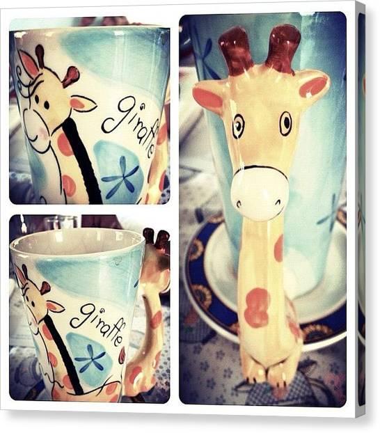 Giraffes Canvas Print - Giraffe Coffee Mug! Goodmorning! ☀ by Myrtali Petrocheilou