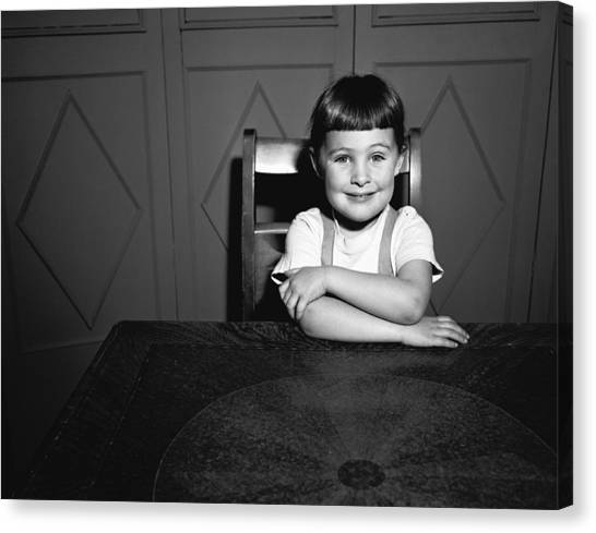 Girl (5-5) Sitting At Table, (b&w), Portrait Canvas Print by George Marks