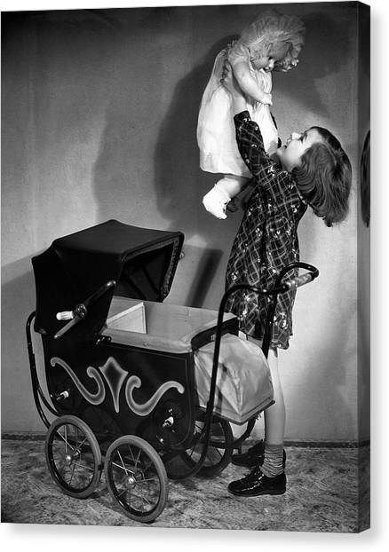 Girl And Baby Canvas Print by George Marks