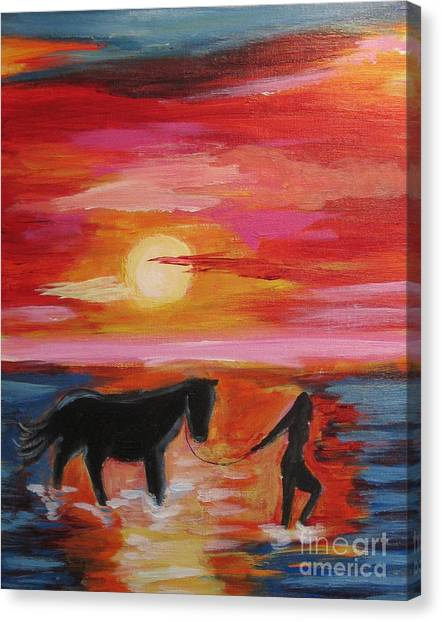 Girl And  Horse Canvas Print