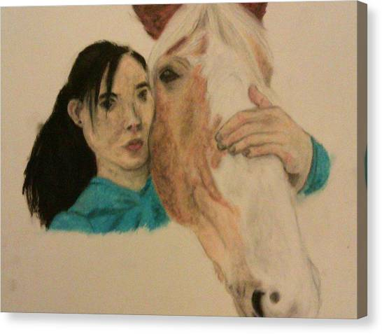 Girl And Pony Canvas Print by Jamie Mah