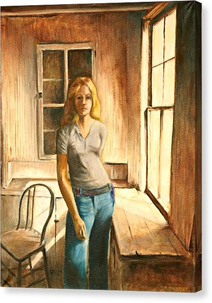 Girl At The Window Canvas Print by Rita Bentley