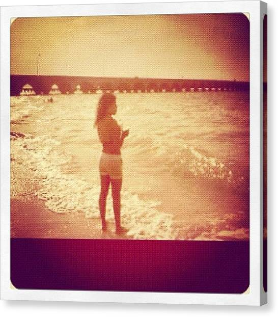 Bikini Canvas Print - #girl #bikini #short #white #bridge by Patii Martinez