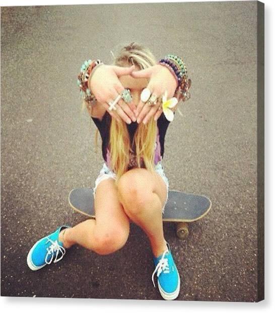 Legs Canvas Print - #girl #blond #rings #vans #lot #things by Isidora Leyton