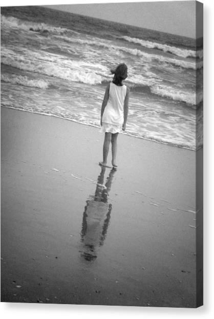 Girl By Ocean Canvas Print