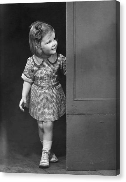 Girl Coming Outside Canvas Print by George Marks