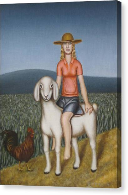 Girl Goat And Chicken Canvas Print by Thomas Jeffreys