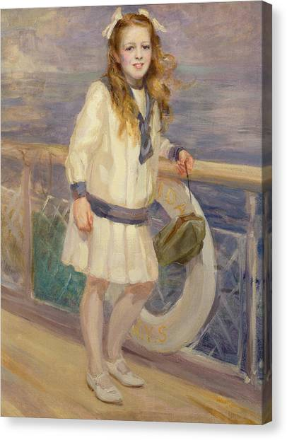 Sailors Girl Canvas Print - Girl In A Sailor Suit by Charles Sims