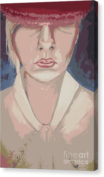 Girl In Hat Pink Canvas Print